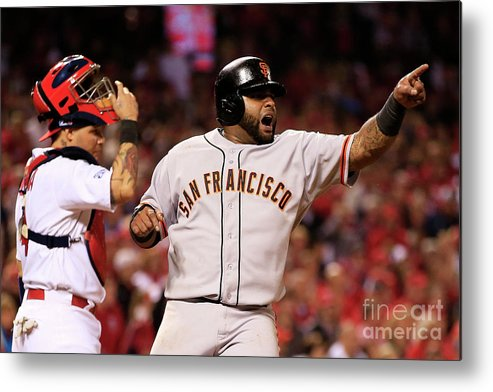 Game Two Metal Print featuring the photograph Pablo Sandoval, Yadier Molina, and Hunter Pence by Jamie Squire