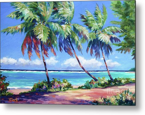Art Metal Print featuring the painting Palms at the Island's End by John Clark