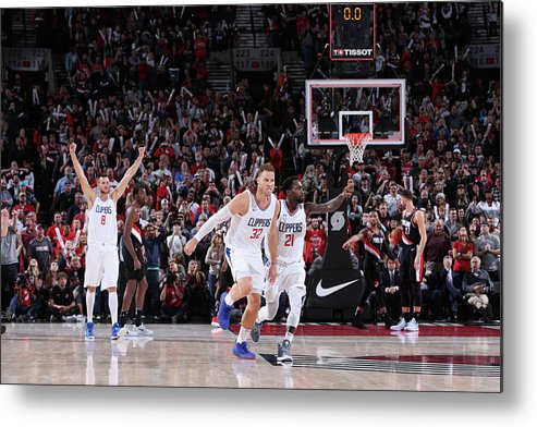 Nba Pro Basketball Metal Print featuring the photograph Patrick Beverley and Blake Griffin by Sam Forencich