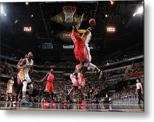 Nba Pro Basketball Metal Print featuring the photograph Paul George and Clint Capela by Ron Hoskins