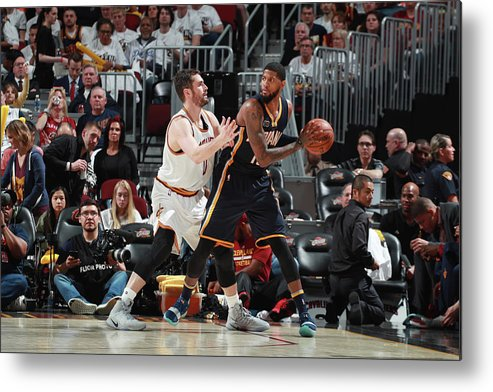 Playoffs Metal Print featuring the photograph Paul George and Kevin Love by Jeff Haynes