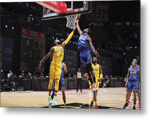 Atlanta Metal Print featuring the photograph Paul George and Kyrie Irving by Nathaniel S. Butler