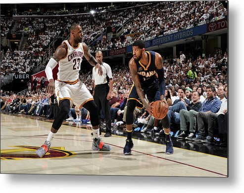 Playoffs Metal Print featuring the photograph Paul George and Lebron James by David Liam Kyle