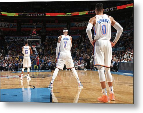 Nba Metal Print featuring the photograph Paul George, Carmelo Anthony, and Russell Westbrook by Layne Murdoch