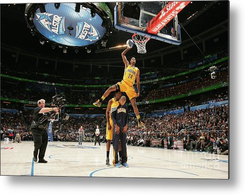 Nba Pro Basketball Metal Print featuring the photograph Paul George, Dahntay Jones, and Roy Hibbert by Nathaniel S. Butler