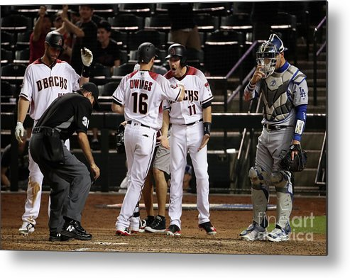 Ninth Inning Metal Print featuring the photograph Paul Goldschmidt and Chris Owings by Christian Petersen