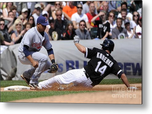 American League Baseball Metal Print featuring the photograph Paul Konerko and Jhonny Peralta by Ron Vesely