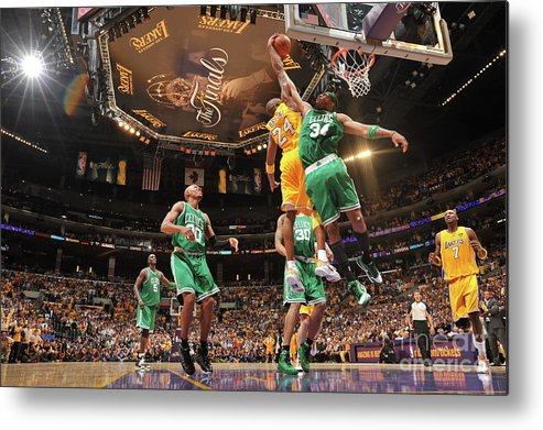 Playoffs Metal Print featuring the photograph Paul Pierce and Kobe Bryant by Jesse D. Garrabrant
