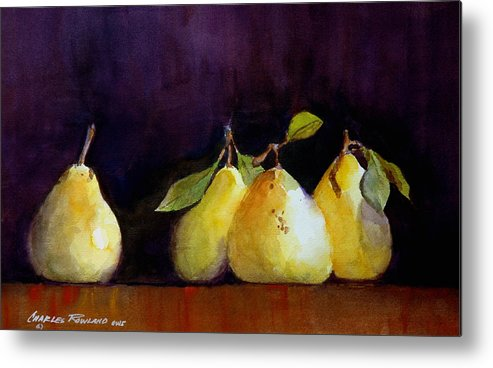 Still Life Metal Print featuring the painting Pears by Charles Rowland