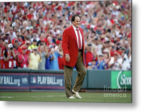 Great American Ball Park Metal Print featuring the photograph Pete Rose by Rob Carr