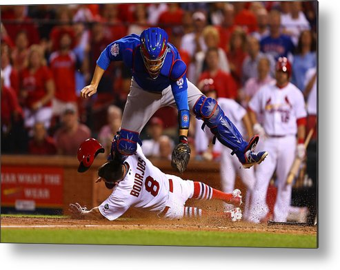 St. Louis Cardinals Metal Print featuring the photograph Peter Bourjos and Miguel Montero by Dilip Vishwanat