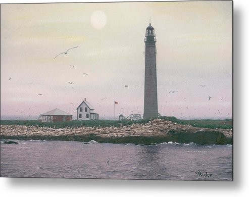 Lighthouse Metal Print featuring the drawing Petit Manan Lighthouse by Brent Ander