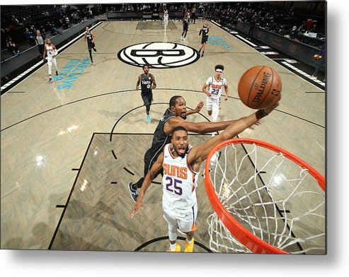 Nba Pro Basketball Metal Print featuring the photograph Phoenix Suns v Brooklyn Nets by Nathaniel S. Butler