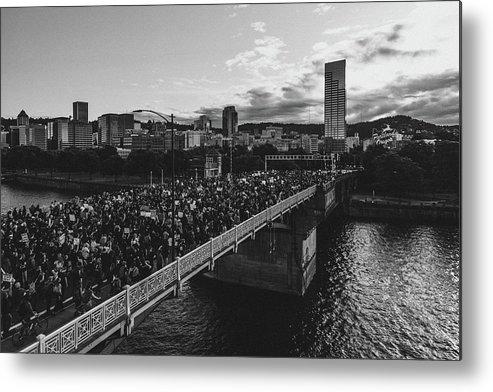 Portland Protest Metal Print featuring the photograph Portland Protests #4 by Andrew Wallner