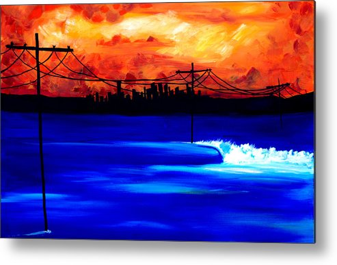 Power Trip Was Created To Mix Urban And Aquatic Scenery. I Was Inspired To Put Power Lines In For Showing Our Future State Of Global Warming. Surf Art Waves. Metal Print featuring the painting Power Trip - surf art by Nathan Paul Gibbs