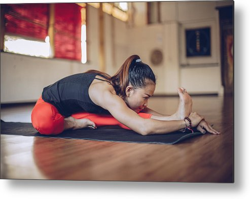 Asian And Indian Ethnicities Metal Print featuring the photograph Pretty Woman Doing Yoga Exercise by South_agency