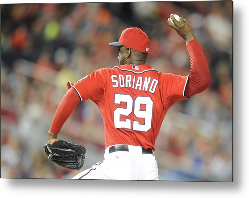 Baseball Pitcher Metal Print featuring the photograph Rafael Soriano by Mitchell Layton