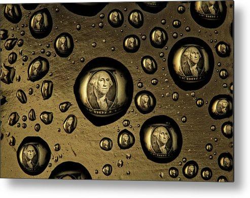 Macro Metal Print featuring the photograph Raining Dollars by Jim Painter