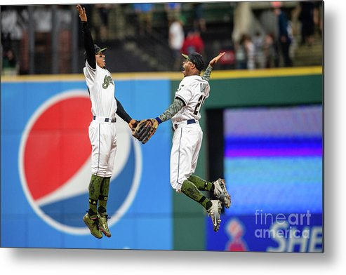 People Metal Print featuring the photograph Rajai Davis and Francisco Lindor by Jason Miller