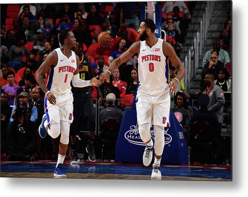 Nba Pro Basketball Metal Print featuring the photograph Reggie Jackson and Andre Drummond by Chris Schwegler
