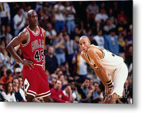 Chicago Bulls Metal Print featuring the photograph Reggie Miller and Michael Jordan by Barry Gossage