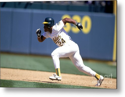 American League Baseball Metal Print featuring the photograph Rickey Henderson by Jeff Carlick