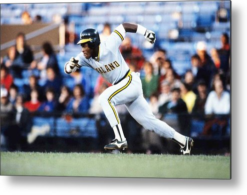 1980-1989 Metal Print featuring the photograph Rickey Henderson by Ronald C. Modra/sports Imagery