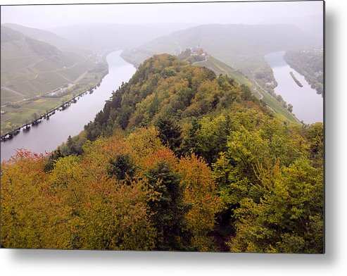 Outdoors Metal Print featuring the photograph River Moselle in Autumn by Bernd Schunack