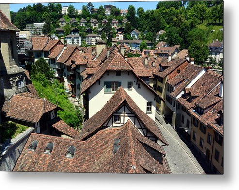 Red Rooftops Metal Print featuring the photograph Rooftops of Medieval Bern, Switzerland by Two Small Potatoes