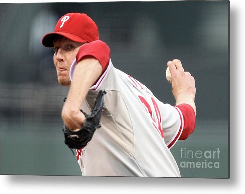 Playoffs Metal Print featuring the photograph Roy Halladay by Ezra Shaw