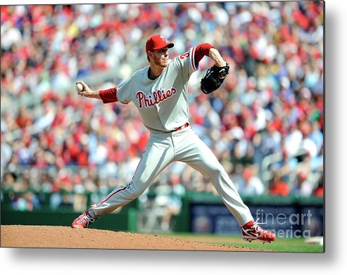 Baseball Pitcher Metal Print featuring the photograph Roy Halladay by Greg Fiume