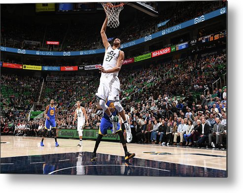 Nba Pro Basketball Metal Print featuring the photograph Rudy Gobert by Garrett Ellwood