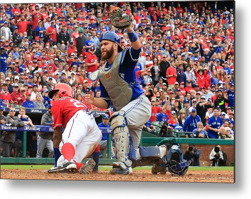 Game Two Metal Print featuring the photograph Russell Martin and Ian Desmond by Scott Halleran