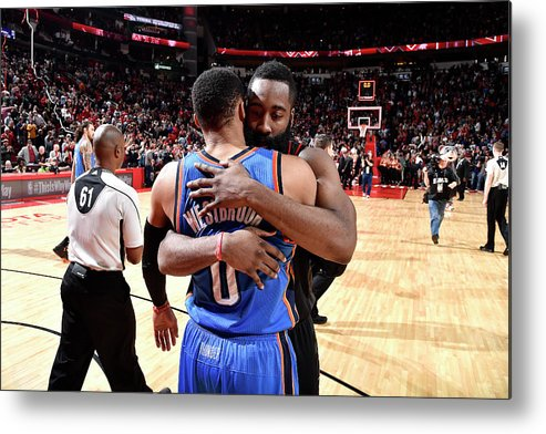 Nba Pro Basketball Metal Print featuring the photograph Russell Westbrook and James Harden by Bill Baptist