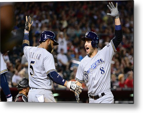 Three Quarter Length Metal Print featuring the photograph Ryan Braun and Jonathan Villar by Jennifer Stewart