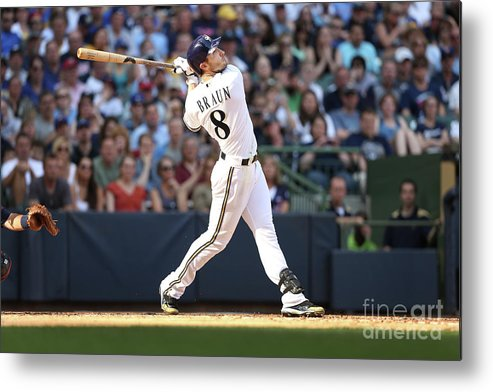 American League Baseball Metal Print featuring the photograph Ryan Braun by Mlb Photos
