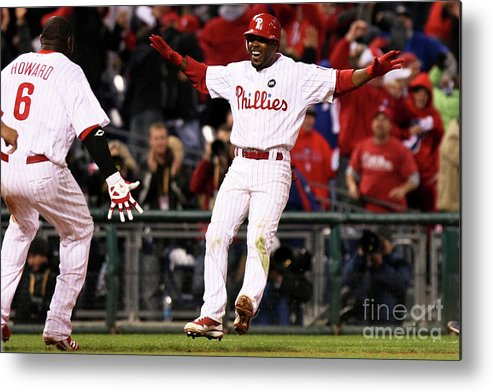 Playoffs Metal Print featuring the photograph Ryan Howard and Jimmy Rollins by Nick Laham