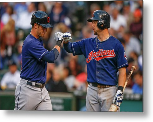 American League Baseball Metal Print featuring the photograph Ryan Raburn and Yan Gomes by Otto Greule Jr