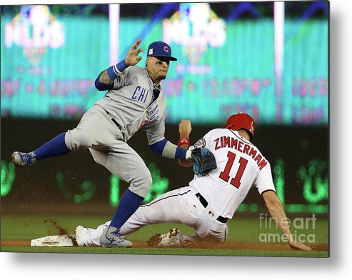 Game Two Metal Print featuring the photograph Ryan Zimmerman and Javier Baez by Win Mcnamee