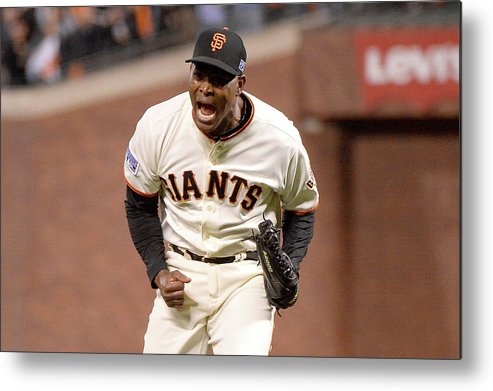 Playoffs Metal Print featuring the photograph Santiago Casilla by Harry How