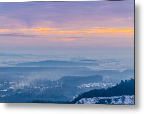 Tranquility Metal Print featuring the photograph Scenic view of mountains during sunset by Yuriy Semak / FOAP