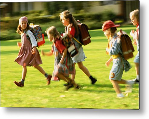 Grass Metal Print featuring the photograph Schoolkids by Image Source