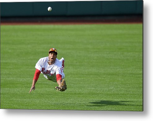 Ball Metal Print featuring the photograph Scooter Gennett and Ben Revere by Drew Hallowell