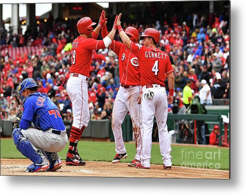 Great American Ball Park Metal Print featuring the photograph Scooter Gennett and Joey Votto by Jamie Sabau