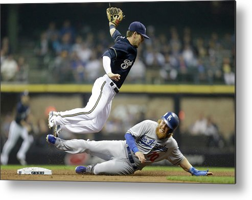 Double Play Metal Print featuring the photograph Scooter Gennett and Justin Turner by Mike Mcginnis