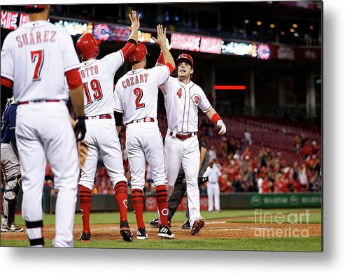 Great American Ball Park Metal Print featuring the photograph Scooter Gennett, Zack Cozart, and Joey Votto by Kirk Irwin