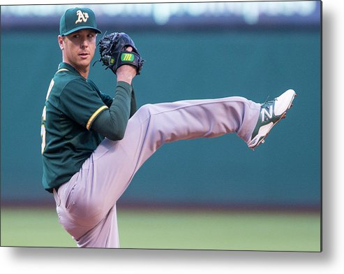 American League Baseball Metal Print featuring the photograph Scott Kazmir by Jason Miller