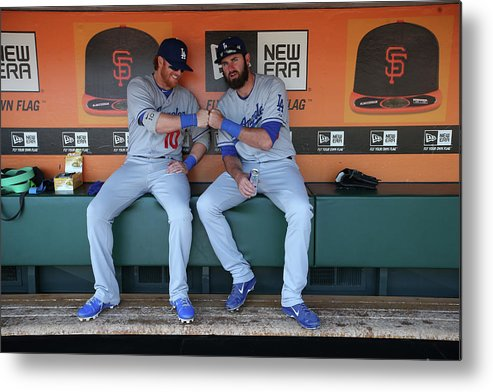 San Francisco Metal Print featuring the photograph Scott Van Slyke and Justin Turner by Brad Mangin