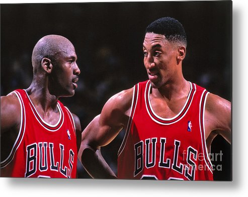 Chicago Bulls Metal Print featuring the photograph Scottie Pippen and Michael Jordan by Kent Smith