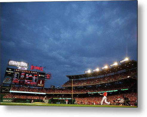 National League Baseball Metal Print featuring the photograph Sergio Romo and Jayson Werth by Al Bello